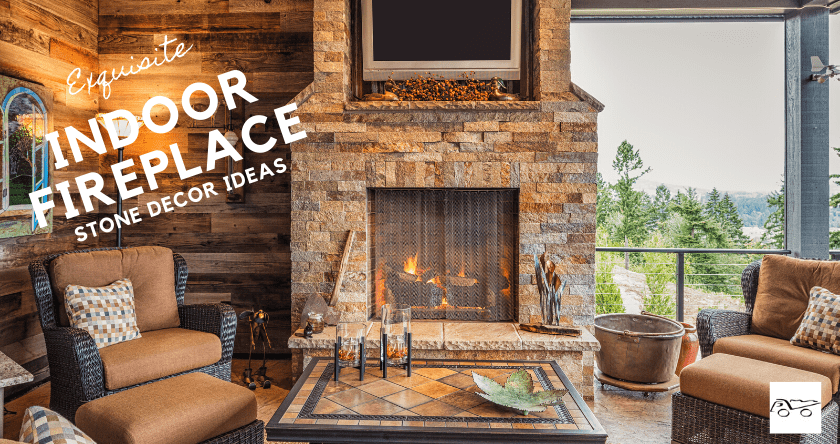 Indoor Fireplace Exquisite Stone Decor Ideas